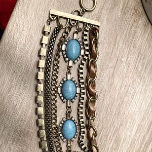 Vintage layered stone and chain bracelet